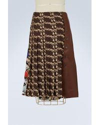 La Prestic Ouiston - Silk And Leather Skirt - Lyst