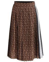 Burberry Monogram Stripe Pleated Skirt - Brown