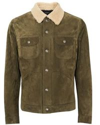 Tom Ford Shearling & Suede Trucker Jacket - Green