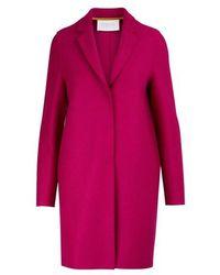 Harris Wharf London Cocoon Coat In Felted Wool - Pink