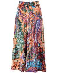 Paco Rabanne Floral Print Skirt - Blue