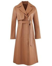 Sportmax Acaici Leather Trench Coat - Brown