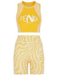 Fendi Lycra® Cycling Shorts - Yellow