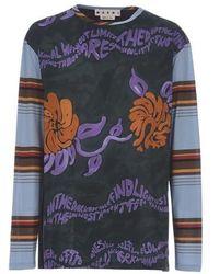 Marni T-shirt à manches longues et à empiècements - Multicolore