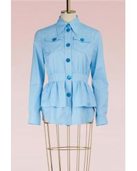 Miu Miu - Ruffle Oxford Shirt - Lyst