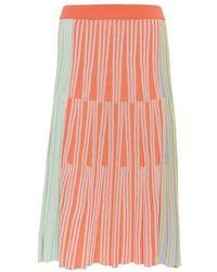 KENZO Striped Knit Midi Skirt - Pink