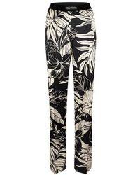 Tom Ford Pantalon de pyjama en satin de soie à fleurs - Noir