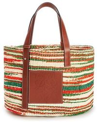 Loewe Paula's Ibiza Striped Raffia Basket Bag - Brown