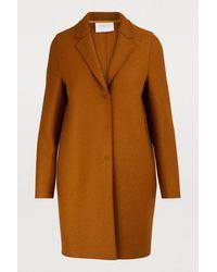 Harris Wharf London Cocoon Coat In Felted Wool - Brown