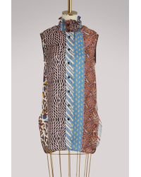 Carven - Smocked Collar Silk Sleeveless Shirt - Lyst
