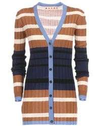 Marni Striped Long-sleeved Cardigan - Blue