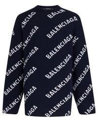 Balenciaga Pull col rond Logo - Bleu