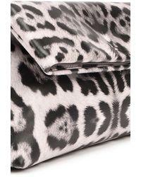 Dries Van Noten Leopard Printed Clutch - Grey