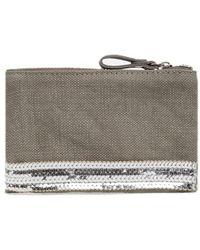 Vanessa Bruno Linen And Sequins Canvas Case - Grey