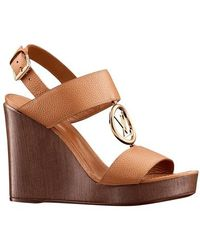 Louis Vuitton Vedette Wedge Sandal - Brown