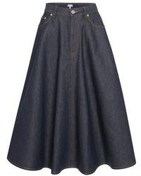 Loewe Jupe en jean plissée - Bleu