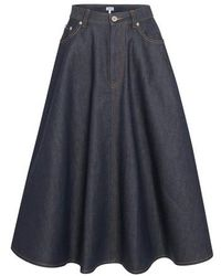 Loewe Faltenrock aus Jeans - Blau