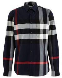 Burberry Check Stretch Cotton Poplin Shirt - Blue