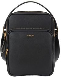 Tom Ford Buckley Small Double Zip Messenger - Black