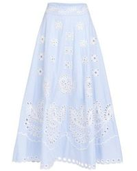RED Valentino Embroidery Detailed Skirt - Blue