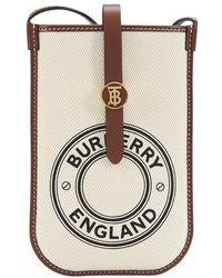 Burberry Anne Logo Print Phone Bag - White
