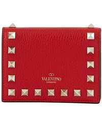Valentino Portefeuille Flap French Garavani - Rouge