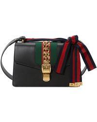 Gucci Sylvie Leather Shoulder Bag - Black