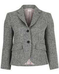 Thom Browne Striped Tweed Jacket - Grey