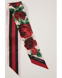 Dolce & Gabbana Naud de cou en soie Roses - Rouge