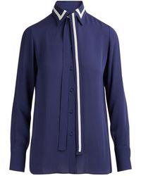 Valentino Striped Silk-georgette Blouse - Blue