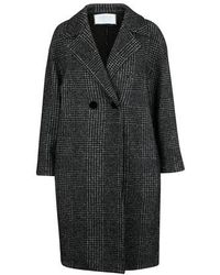 Harris Wharf London Glen Plaid Coat - Black