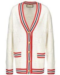 Gucci GG Knit Elongated Cardigan - White