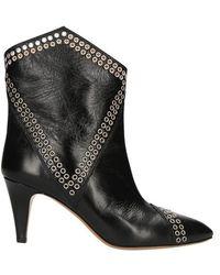 Isabel Marant Lahia Eyelets Ankle Boots - Black