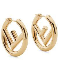 Fendi F Is Earrings - Metallic