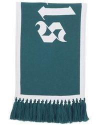Palm Angels Schal mit Logo - Grün