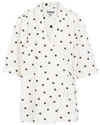Ganni Printed Cotton Wrap Shirt - White