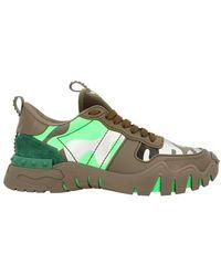 Valentino Garavani Sneakers En Cuir Et Toile - Vert