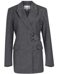 Ganni Stripe Suiting Jacket - Grey