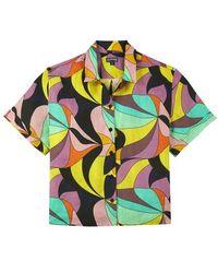 Vilebrequin Linen Shirt 1984 Invisible Fish - Black