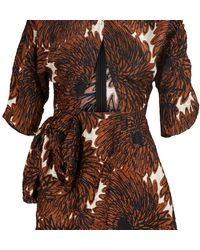 Miu Miu Creased Satin Dress - Brown