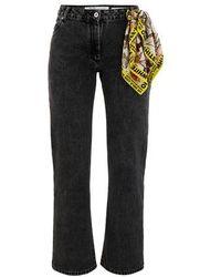 Off-White c/o Virgil Abloh Jeans With Foulard Belt - Gray
