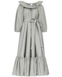 Patou Puff Sleeve Long Dress - Gray
