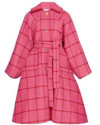 Patou Manteau à carreaux - Rose