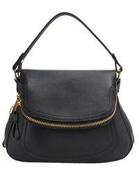 Tom Ford Jennifer Medium Double Strap Bag - Black