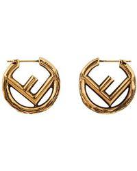Fendi Mini Logo Earrings - Metallic
