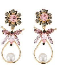 Erdem Bee Drop Earrings - Pink