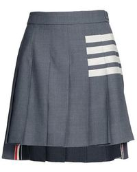 Thom Browne 4-bar Pleated Mini Skirt - Gray