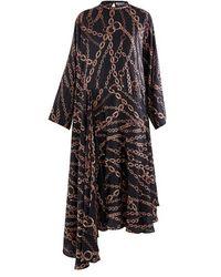 Balenciaga Printed Silk Dress - Black