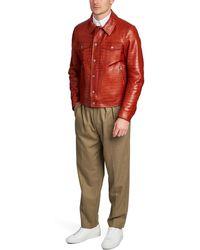 Tom Ford Veste en cuir crocodile - Rouge