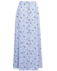 Ganni Printed Long Skirt - Blue